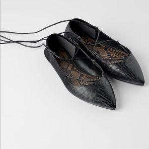 Zara Black Tied Ballet Flats Size 7.5. NWTS